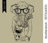 hipster style dressed elephant. ...   Shutterstock .eps vector #357216551