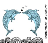 hand drawn doodle dolphin pair...   Shutterstock .eps vector #357236099