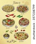hand drawing set of pasta  | Shutterstock .eps vector #357238799