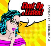 pop art woman with glasses  ...   Shutterstock .eps vector #357246029