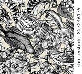 hand drawn monochrome spring... | Shutterstock .eps vector #357246179