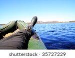 leg in rubber boat | Shutterstock . vector #35727229