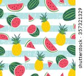watermelon   pineapple stripe... | Shutterstock .eps vector #357321329