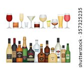 set of different alcohol bottle ... | Shutterstock .eps vector #357325235