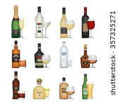 set of alcohol bottle with... | Shutterstock .eps vector #357325271