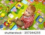 little boy with big blue eyes... | Shutterstock . vector #357344255
