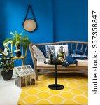blue wall interior yellow rug... | Shutterstock . vector #357358847