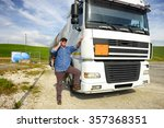 truck driver phoning | Shutterstock . vector #357368351