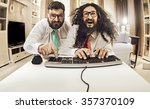 two weird computer geeks having ... | Shutterstock . vector #357370109
