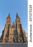 Small photo of PRAGUE, CZECH REPUBLIC - DECEMBER 6, 2015: Basilica of St Peter and St Paul in Vysehrad of Prague (UNESCO site). Founded in 1070, current view since 1903, architects Joseph Mocker and Frantisek Miks
