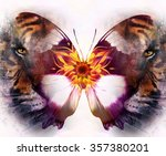 portrait tiger and butterfly.... | Shutterstock . vector #357380201