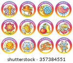 set of cartoon stickers for... | Shutterstock .eps vector #357384551