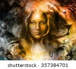 painting mighty lion and tiger... | Shutterstock . vector #357384701