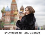 young beautiful woman tourist... | Shutterstock . vector #357385505