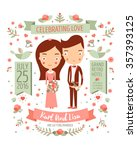 wedding invitation card suite... | Shutterstock .eps vector #357393125