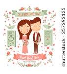 wedding invitation card suite... | Shutterstock .eps vector #357393125