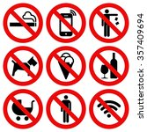 set of prohibited no stop sign... | Shutterstock .eps vector #357409694