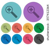 color zoom in flat icon set on...