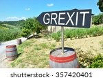 grexit arrow and wine barrels... | Shutterstock . vector #357420401