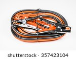 red and black jumper cables... | Shutterstock . vector #357423104