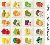 set of fruits flat icons vector ... | Shutterstock .eps vector #357427601