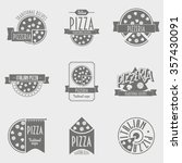 illustration pizza logo set.... | Shutterstock . vector #357430091