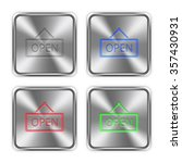 color open sign icons engraved...