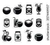 coconut milk  oil  cocktail  ... | Shutterstock .eps vector #357449957