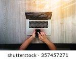 top view of designer hand...   Shutterstock . vector #357457271