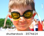 Boy in Swimming Goggles - stock photo