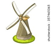 wind mill over white background | Shutterstock .eps vector #357465365