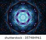 Dark Blue Fractal Mandala ...