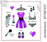 violet dress fashion outfit... | Shutterstock . vector #357487157