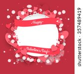 paper circle banner with hearts ... | Shutterstock .eps vector #357489419