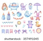 watercolor baby shower set of... | Shutterstock . vector #357491045
