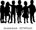children silhouettes | Shutterstock .eps vector #357492161