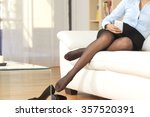 businesswoman legs with nylons... | Shutterstock . vector #357520391
