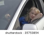 resting girl on car parking... | Shutterstock . vector #35753854