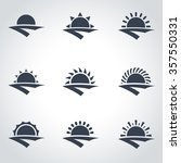 vector black sunrise icon set. | Shutterstock .eps vector #357550331