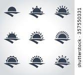 vector black sunrise icon set. | Shutterstock .eps vector #357550331