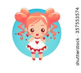 cute little girl with hair done ...   Shutterstock .eps vector #357553574