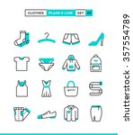 clothing. plain and line icons... | Shutterstock .eps vector #357554789