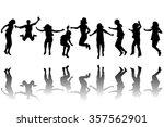 set of children silhouettes... | Shutterstock .eps vector #357562901