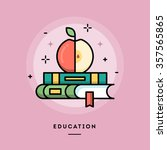 education  flat design thin... | Shutterstock .eps vector #357565865
