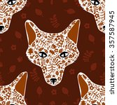 seamless color pattern with fox ... | Shutterstock .eps vector #357587945