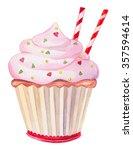 cupcake with strawberry cream. | Shutterstock . vector #357594614