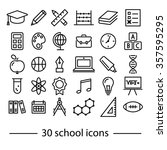 thirty school line icons | Shutterstock .eps vector #357595295