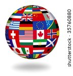 floating globe covered with... | Shutterstock . vector #35760880