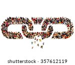 large group of people forming a ... | Shutterstock . vector #357612119