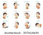 flu symptoms  influenza kids... | Shutterstock .eps vector #357614654
